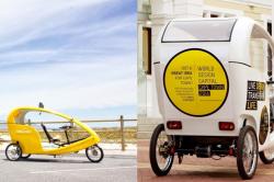 Бесплатное такси-электроцикл, оплачиваемое рекламодателями